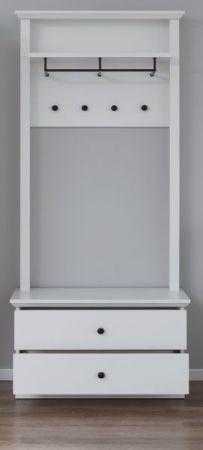 Garderobe Baxter 2-teilig in weiß Landhaus Garderobenset mit Wandpaneel und Schuhbank 81 x 196 cm