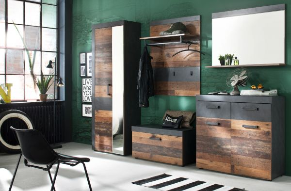 Garderobe Indy Set 5-teilig in Shabby Used Wood Matera grau Garderobenset mit Garderobenschrank 265 x 192 cm