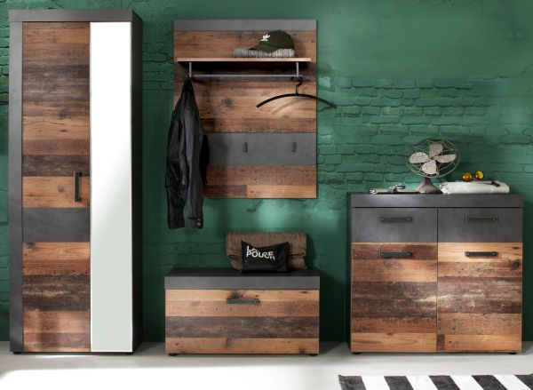 "Garderobe ""Indy"" in Old Used Wood mit grau 4-teilig (265 x 192 cm)"