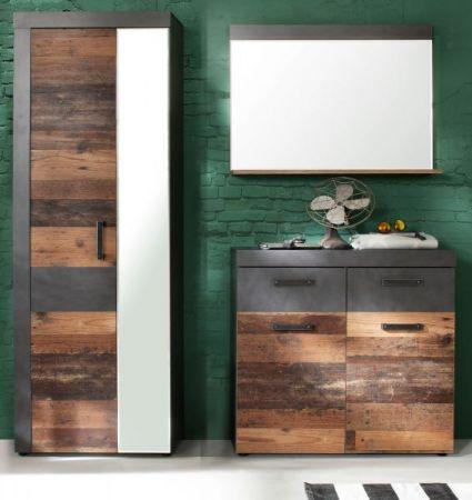 Garderobe Indy 3-teilig in Used Wood Shabby mit Matera grau Garderobenset mit Schuh- / Garderobenschrank 170 x 192 cm