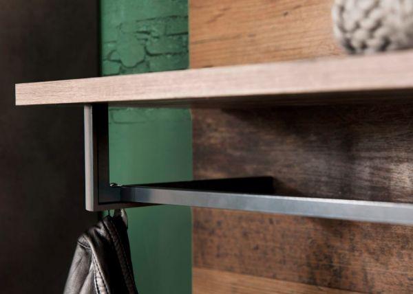 Garderobe Indy Set 2-teilig in Used Wood Shabby Matera grau Garderobenset Schuhbank und Wandpaneel 80 x 192 cm