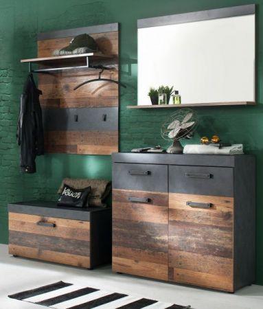 """Garderobe """"Indy"""" 2-teilig in Used Wood Shabby mit Matera grau 90 x 192 cm mit Schuhschrank und Spiegel"""