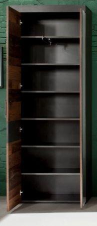 Garderobenschrank Indy in Used Wood Shabby mit Matera grau Garderobe oder großer Schuhschrank 65 x 192 cm