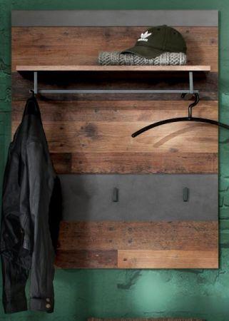 Garderobenpaneel Indy in Used Wood Shabby mit Matera grau Wandgarderobe Flurgarderobe 80 x 106 cm