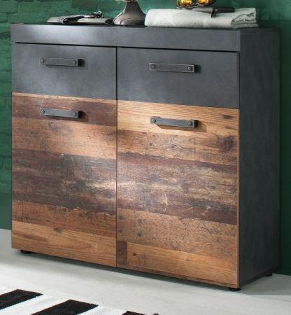 Flur Kommode Indy in Used Wood Shabby mit Matera grau Schuhschrank 90 x 89 cm
