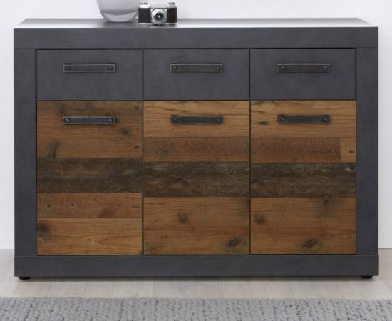 Sideboard Indy in Used Wood Shabby mit Matera grau Kommode 117 x 86 cm