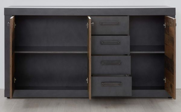 """Sideboard """"Indy"""" in Used Wood Shabby und Matera grau Kommode 151 x 86 cm"""