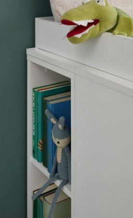 Babyzimmer Wilson komplett Set 5-teilig weiß und grau mit Wickelkommode Babybett Kleiderschrank und 2 Regale