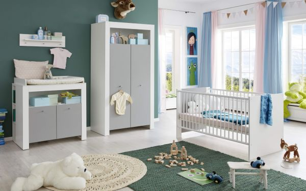 Babyzimmer Wilson komplett Set 2-teilig weiß und grau mit Wickelkommode und Babybett