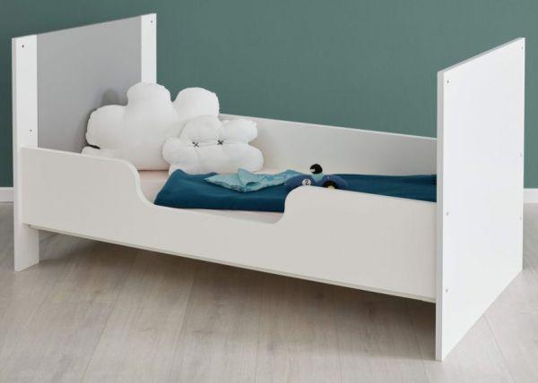 Babyzimmer Babybett Wilson in weiß und grau Gitterbett mit Schlupfsprossen und Lattenrost 70 x 140 cm Liegefläche