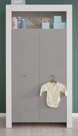 Babyzimmer Kleiderschrank Wilson in weiß und grau 94 x 186 cm