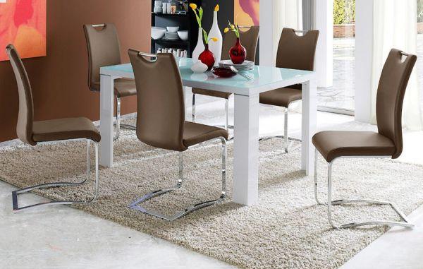 Esstisch Tizio in Hochglanz weiß echt Lack und Glas Küchentisch 120 x 80 cm