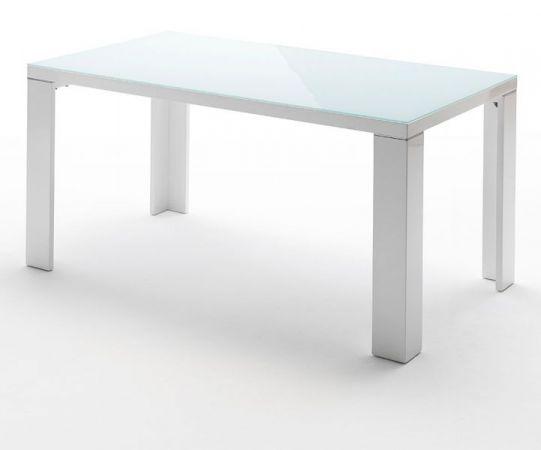 Esstisch Tizio in Hochglanz weiß echt Lack und Glas Küchentisch 140 x 90 cm