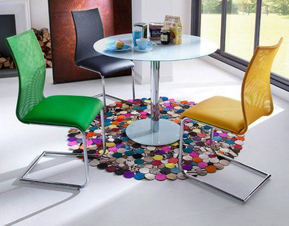 Esstisch Falko in weiß Glastisch rund 100 cm Durchmesser Küchentisch Säulentisch