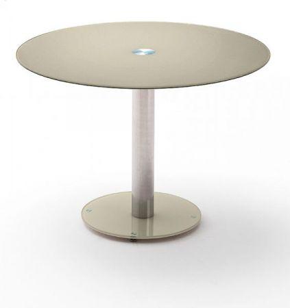 Esstisch Falko in taupe Glastisch rund 100 cm Durchmesser Säulentisch