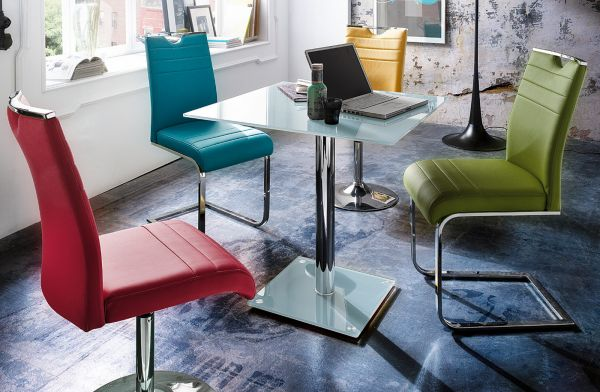 Esstisch Fion Glastisch in weiß Küchentisch quadratisch 80 x 80 cm