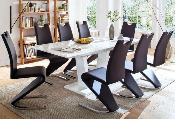 Esstisch Tirso in Hochglanz weiß echt Lack Säulentisch ausziehbar 160 / 200 x 90 cm mit Synchronauszug