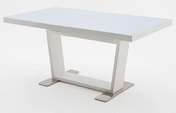 Esstisch Manhattan in Hochglanz weiß echt Lack Säulentisch ausziehbar 160 / 240 x 90 cm mit Synchronauszug
