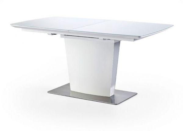 Esstisch Hanjo in weiß echt Lack Säulentisch ausziehbar 160 / 210 x 90 cm mit Synchronauszug