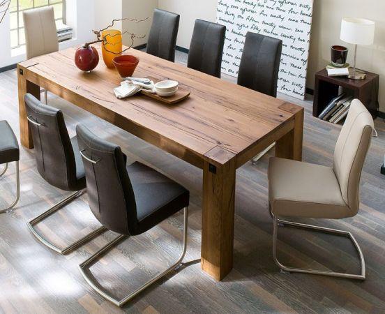 Esstisch Leeds in Eiche Bassano massiv matt lackiert Küchentisch Massivholztisch 220 x 100 cm