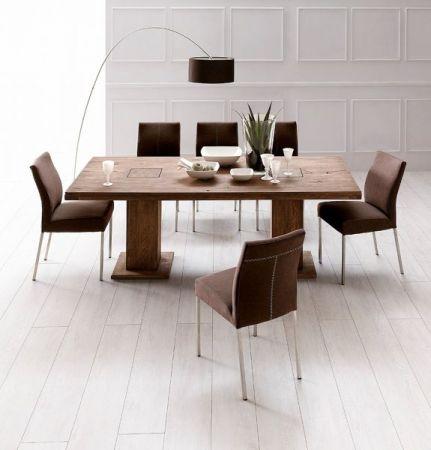 Esstisch Manchester in Eiche verwittert massiv matt lackiert mit 2 Säulen Massivholztisch 180 x 90 cm Säulentisch