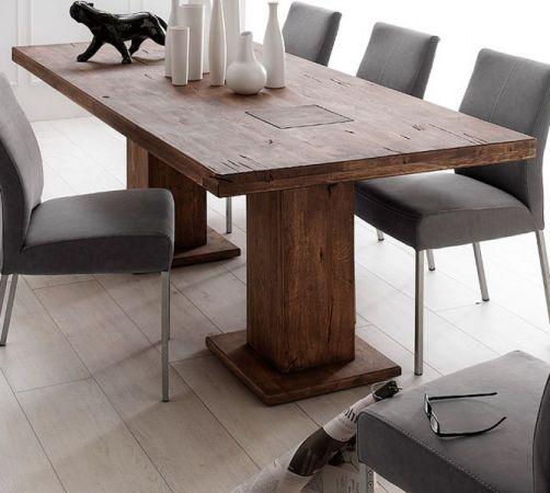 Esstisch Manchester in Eiche verwittert massiv matt lackiert mit 2 Säulen Massivholztisch 260 x 100 cm Säulentisch