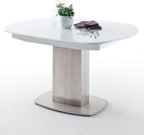 Esstisch Zelder in Glas und Edelstahl Glastisch ausziehbarer mit Synchron Drehfunktion 130 / 190 x 105 cm Säulentisch