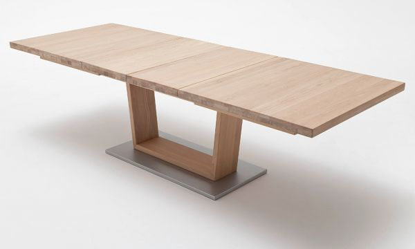 Esstisch Cantania in Eiche Bianco massiv geölt / gewachst Säulentisch 180 / 225 / 270 x 100 cm Rechteckig ausziehbar