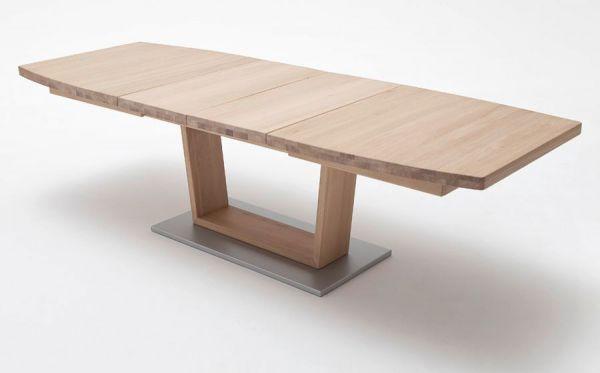 Esstisch Cantania in Eiche Bianco massiv geölt / gewachst Säulentisch 140 / 180 / 220 x 90 cm Bootsform ausziehbar