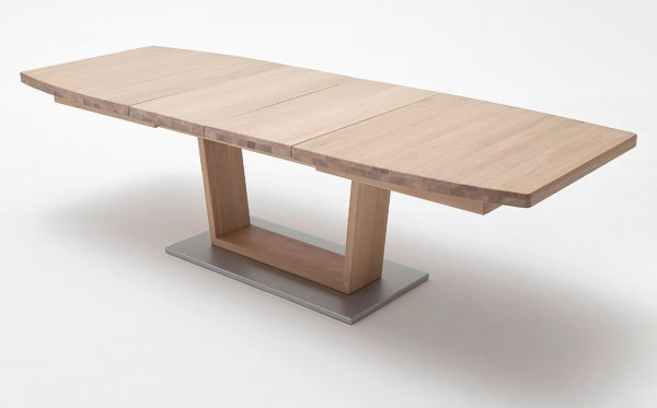Esstisch Cantania in Eiche Bianco massiv geölt / gewachst Säulentisch 180 / 225 / 270 x 100 cm Bootsform ausziehbar