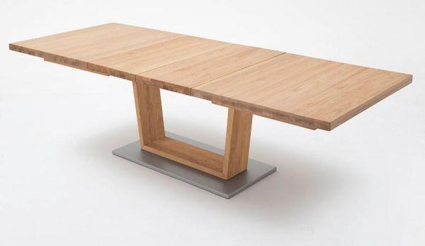 Esstisch Cantania in Wildeiche massiv geölt / gewachst Säulentisch 180 / 225 / 270 x 100 cm Rechteckig ausziehbar