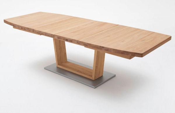Esstisch Cantania in Wildeiche massiv geölt / gewachst Säulentisch 180 / 225 / 270 x 100 cm Bootsform ausziehbar
