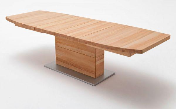 Esstisch Corato in Kernbuche massiv geölt / gewachst Säulentisch 180 / 225 / 270 x 100 cm Bootsform ausziehbar