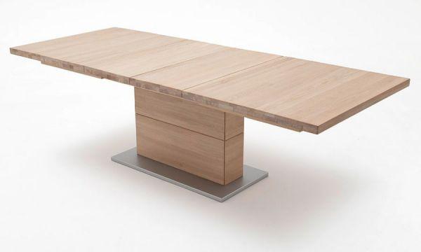 Esstisch Corato in Eiche Bianco massiv geölt / gewachst Säulentisch 180 / 225 / 270 x 100 cm Rechteckig ausziehbar