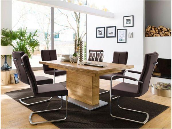 Esstisch Corato in Wildeiche massiv geölt / gewachst Säulentisch 180 / 225 / 270 x 100 cm Rechteckig ausziehbar