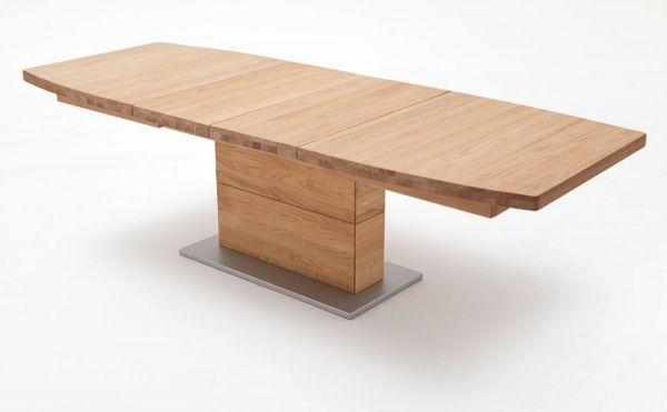 Esstisch Corato in Wildeiche massiv geölt / gewachst Säulentisch 180 / 225 / 270 x 100 cm Bootsform ausziehbar