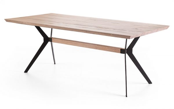 Esstisch Kito in Eiche gekälkt massiv Tisch mit Metallgestell in Antiklook 200 x 100 cm