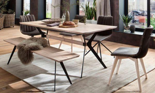 Esstisch Kito in Eiche gekälkt massiv Tisch mit Metallgestell in Antiklook 220 x 100 cm