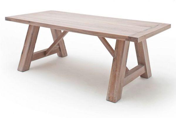 Esstisch Bristol in Eiche gekälkt massiv matt lackiert Küchentisch Massivholztisch 260 x 100 cm