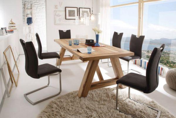Esstisch Bristol in Wildeiche massiv matt lackiert Küchentisch Massivholztisch 180 x 100 cm