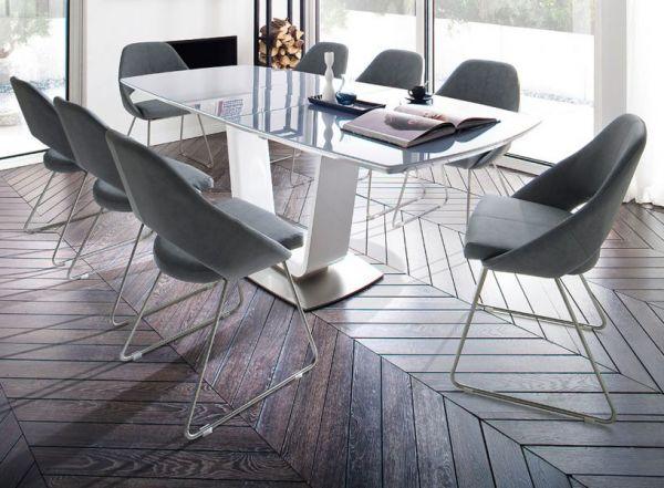Esstisch Xander in Hochglanz weiß echt Lack Säulentisch ausziehbar Glas grau 180 / 230 x 95 cm mit Synchronauszug