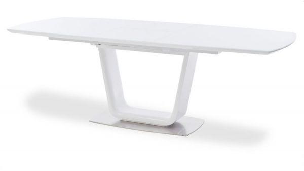 Esstisch Xander in Hochglanz weiß echt Lack Säulentisch ausziehbar Glas weiß 180 / 230 x 95 cm mit Synchronauszug