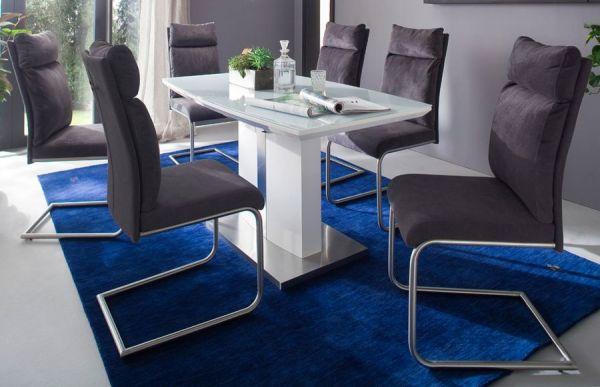 Esstisch Najuma in Hochglanz weiß echt Lack Säulentisch ausziehbar Bootsform 140 / 180 x 80 cm mit Synchronauszug