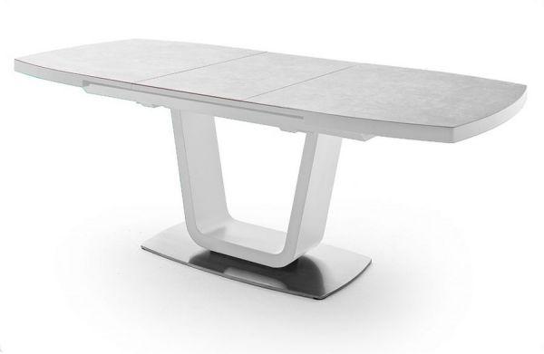 Esstisch Leandro in matt weiß echt Lack mit Keramik-Tischplatte in grau Säulentisch ausziehbar 140 / 180 x 85 cm