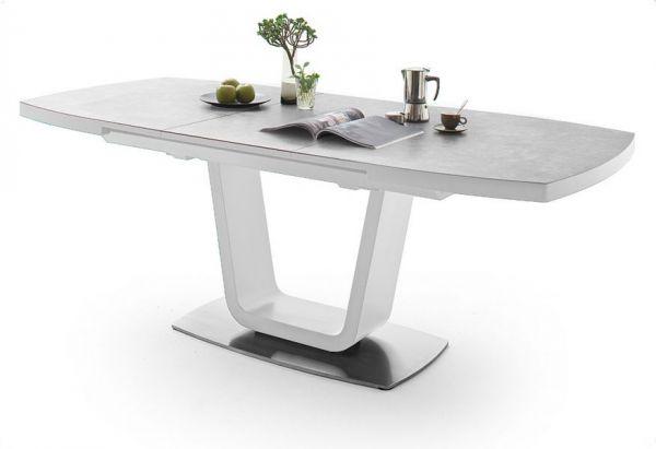 Esstisch Leandro in matt weiß echt Lack mit Keramik-Tischplatte in grau Säulentisch ausziehbar 160 / 210 x 90 cm