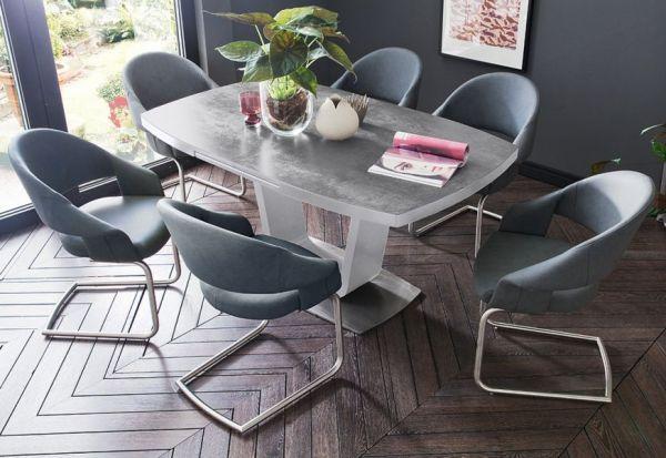 Esstisch Leandro in matt weiß echt Lack mit Keramik-Tischplatte in grau Säulentisch ausziehbar 180 / 230 x 95 cm