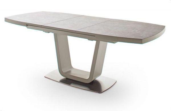 Esstisch Leandro in matt Taupe echt Lack mit Keramik-Tischplatte in Taupe Säulentisch ausziehbar 140 / 180 x 85 cm