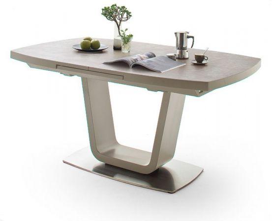 Esstisch Leandro in matt Taupe echt Lack mit Keramik-Tischplatte in Taupe Säulentisch ausziehbar 160 / 210 x 90 cm