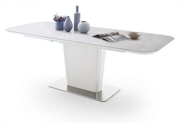 Esstisch Koami in matt weiß echt Lack mit Keramik-Tischplatte in grau Säulentisch ausziehbar 140 / 180 x 85 cm