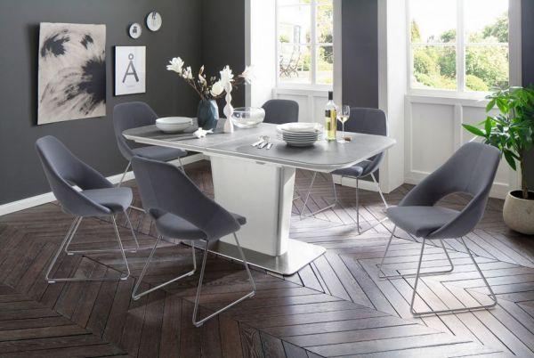 Esstisch Koami in matt weiß echt Lack mit Keramik-Tischplatte in grau Säulentisch ausziehbar 160 / 210 x 90 cm